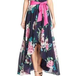Eliza J Dresses - Eliza J Floral summer hi lo belted Maxi Dress sz 8